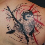 Sparrow on a Brunch Trash Polka tattoo