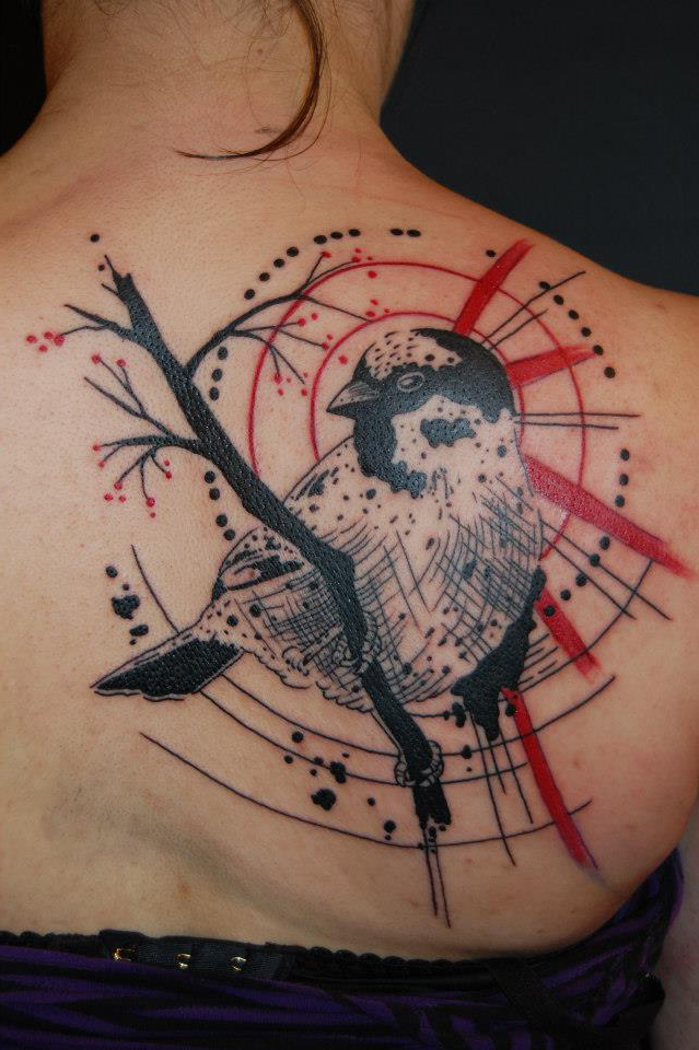 Sparrow on a Brunch Trash Polka tattoo