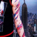 Spiderman Suit Under Skin tattoo sleeve
