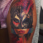 Squared Masquerade Mask Aquarelle tattoo by Adam Kremer