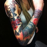 Stag Roses and Owl Traditional tattoo sleeve