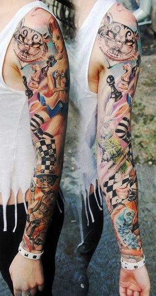 Stylish Alice in Wonderland tattoo sleeve