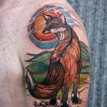 Sun Set Fox Graphic tattoo idea