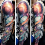 Sunburst Planets and Meteor tattoo sleeve