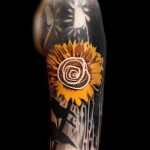 Sunflower Trash Polka tattoo