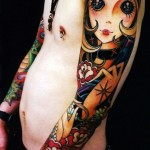 Sunglasses Big Eyes Girl tattoo sleeve