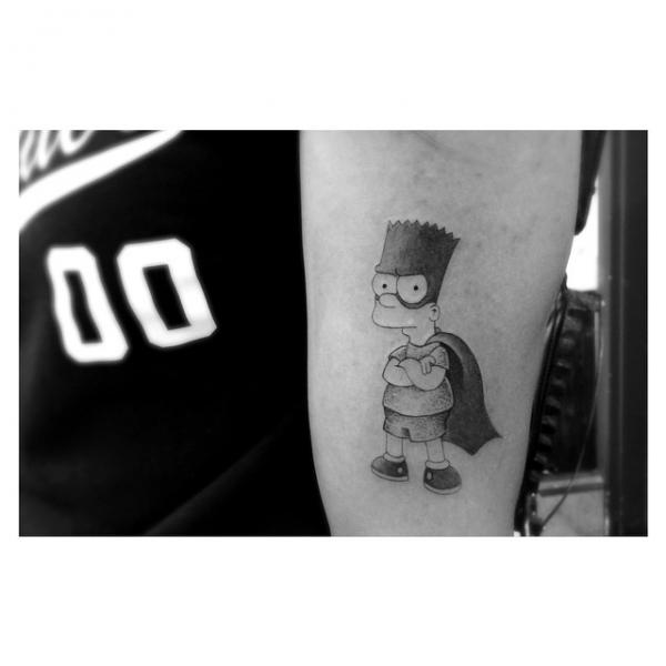Superman Bart Simpsons tattoo by Dr Woo