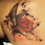 Swallow Rose Trash Polka tattoo