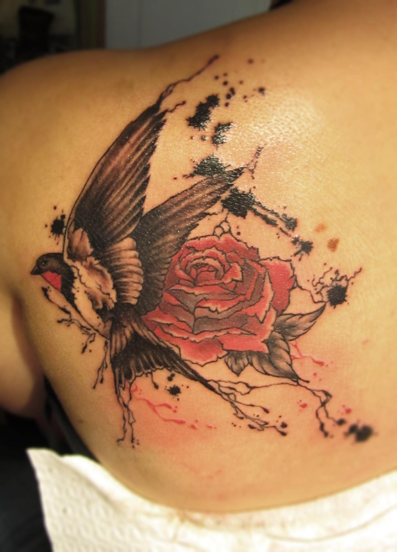 Swallow Rose Trash Polka tattoo