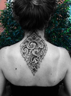 Symbolic back Dotwork tattoo by Corey Divine