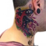 Tattoo Machine Neck tattoo by Piranha Tattoo Studio