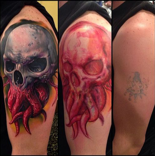 Tentackle Scull Cover Up tattoo
