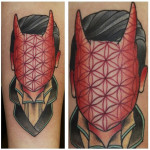 Texture Devil Face New School tattoo by Last Angels Tattoo