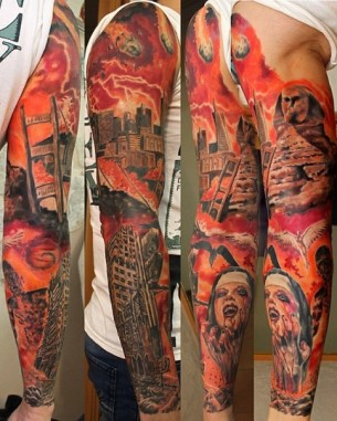 The Judgement Day tattoo sleeve