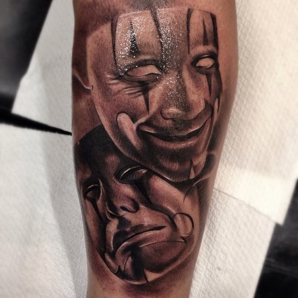 Theatre Masks Chicano tattoo