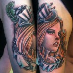Thick Lips Hat Girl New School tattoo by Johnny Smith Art
