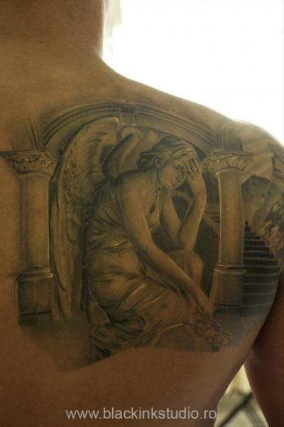 Thinking Angel Religious tattoo by Black Ink Studio