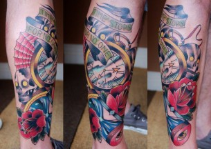 Time Stops Lettering New School tattoo by Marked For Life