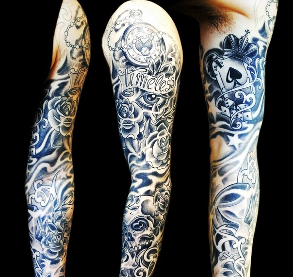 Timeless Lettering Ace of Spades tattoo sleeve