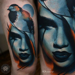 Titmouse Close-up Face tattoo by AD Pancho