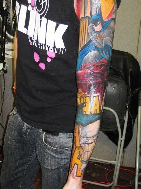 Traditional Batman Comic Book tattoo sleeve