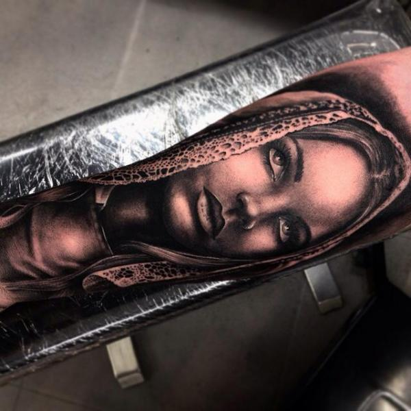 Tragic Hood Realistic tattoo by Drew Apicture