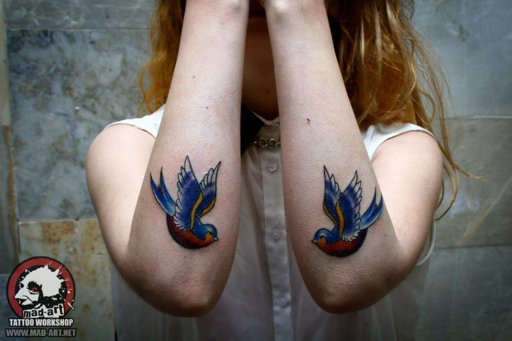 Two Blue Swallows tattoo by Mad-art Tattoo