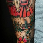 Two Girl Friends New School tattoo sleeve
