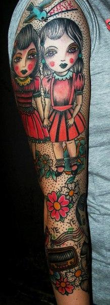 Two Girl Friends New School tattoo sleeve