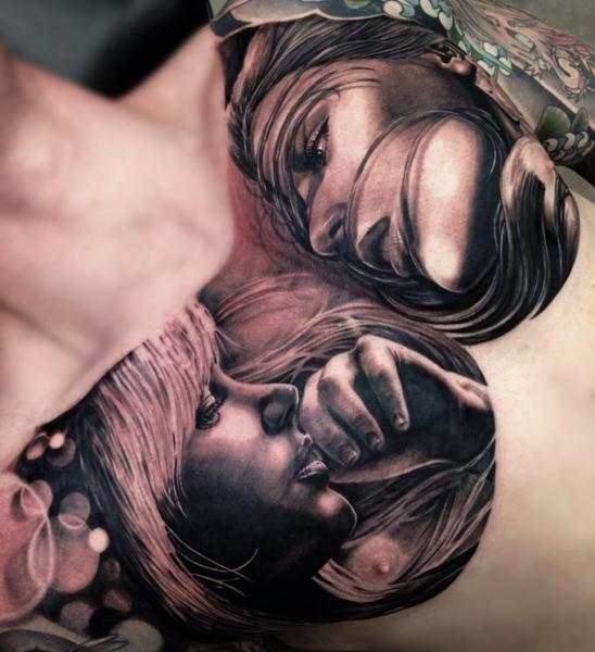 Two Girls Realistic tattoo by Drew Apicture