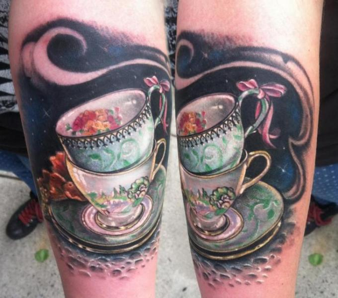 Two Tea Cups tattoo by Johnny Smith Art