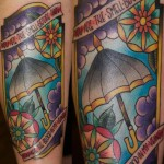 Umbrella Lettering tattoo by Last Angels Tattoo