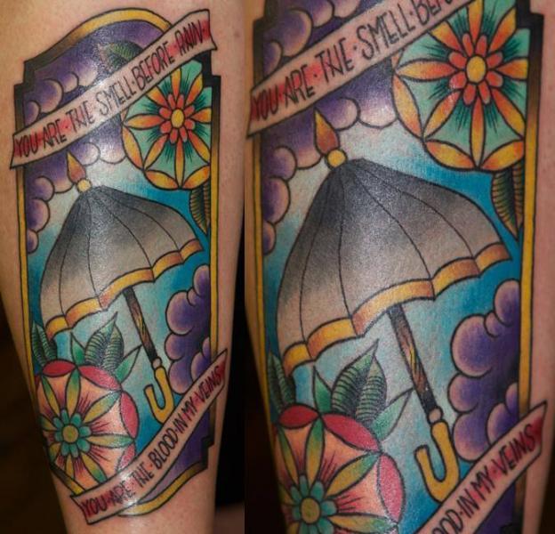 Umbrella Lettering tattoo by Last Angels Tattoo
