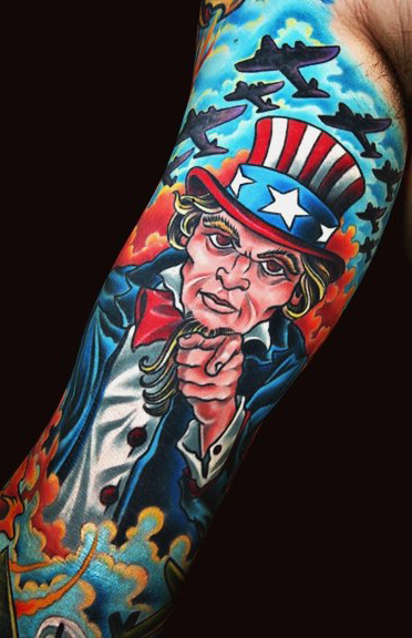 Unckle Sam New School tattoo