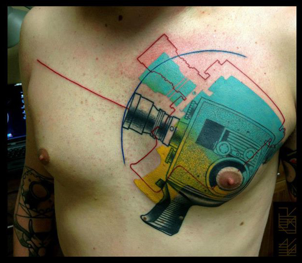 Video Camera Trash Polka tattoo