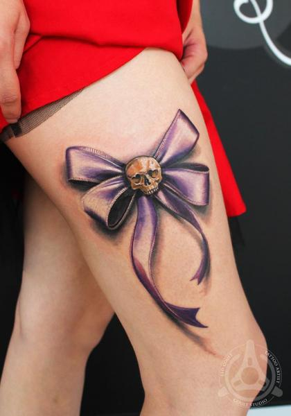 Violet Bow-knot Scull tattoo by Led Coult