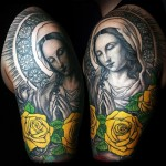 Virgin Mary Realistic Religious tattoo on Shoulder