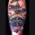 Warship Shoulder tattoo by Chapel tattoo