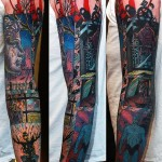 Watchmen Dr.Manhatten Comic Book tattoo sleeve