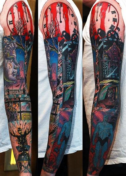 Watchmen Dr.Manhatten Comic Book tattoo sleeve