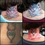 Water Lily Cover Up tattoo on Neck