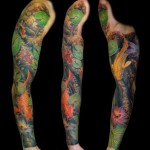 Water Lily Leaves and Carp Fishes tattoo sleeve
