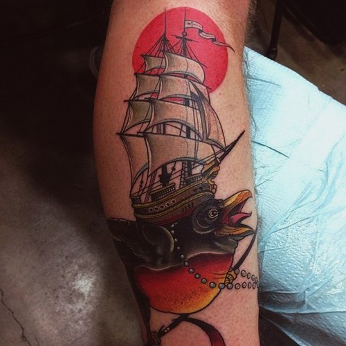 Whale Bird Ship New School tattoo