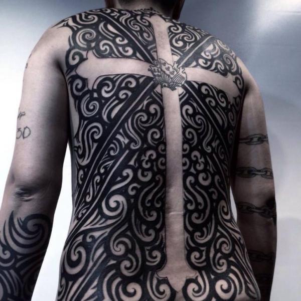 White Crusifix Waves Nautical Blacwork tattoo by Chopstick Tattoo