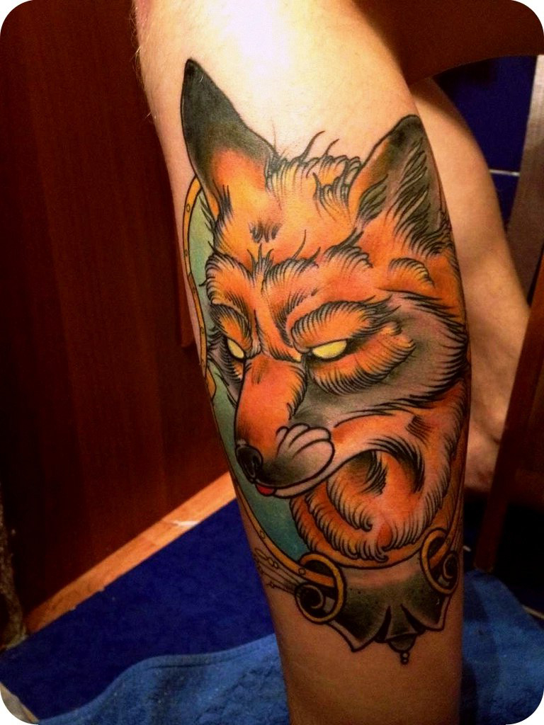Wild Angry Fox New School tattoo