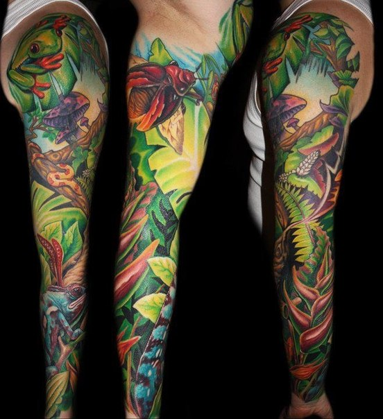 Wild Bugs and Amphibians tattoo sleeve