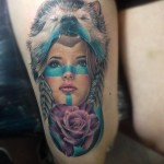 Wild Wolf Rose Girl Indian tattoo