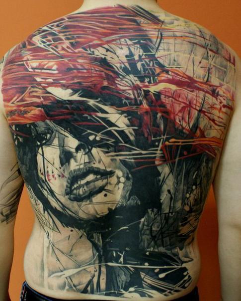 Wind Hair Face Trash Polka tattoo on Back