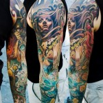 Wind in Hair Sea Storm tattoo sleeve