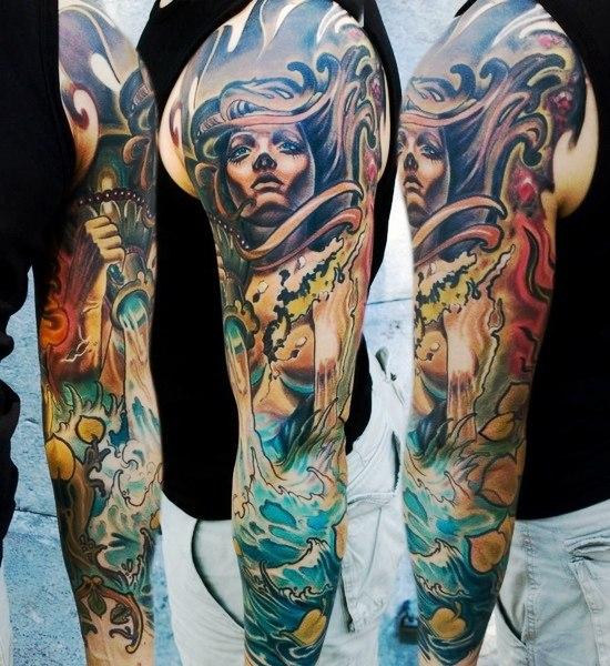 Wind in Hair Sea Storm tattoo sleeve